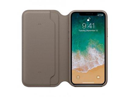 Apple iPhone X Leather Folio Taupe